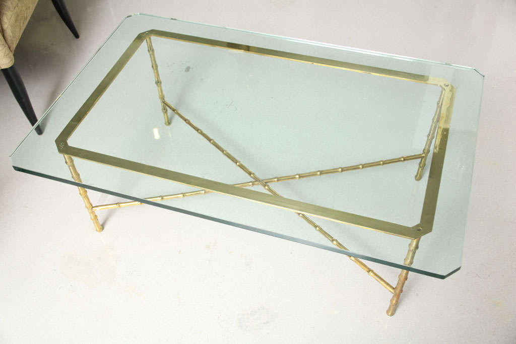 Vintage Brass Faux Bamboo Coffee Table With Glass Top Image 7