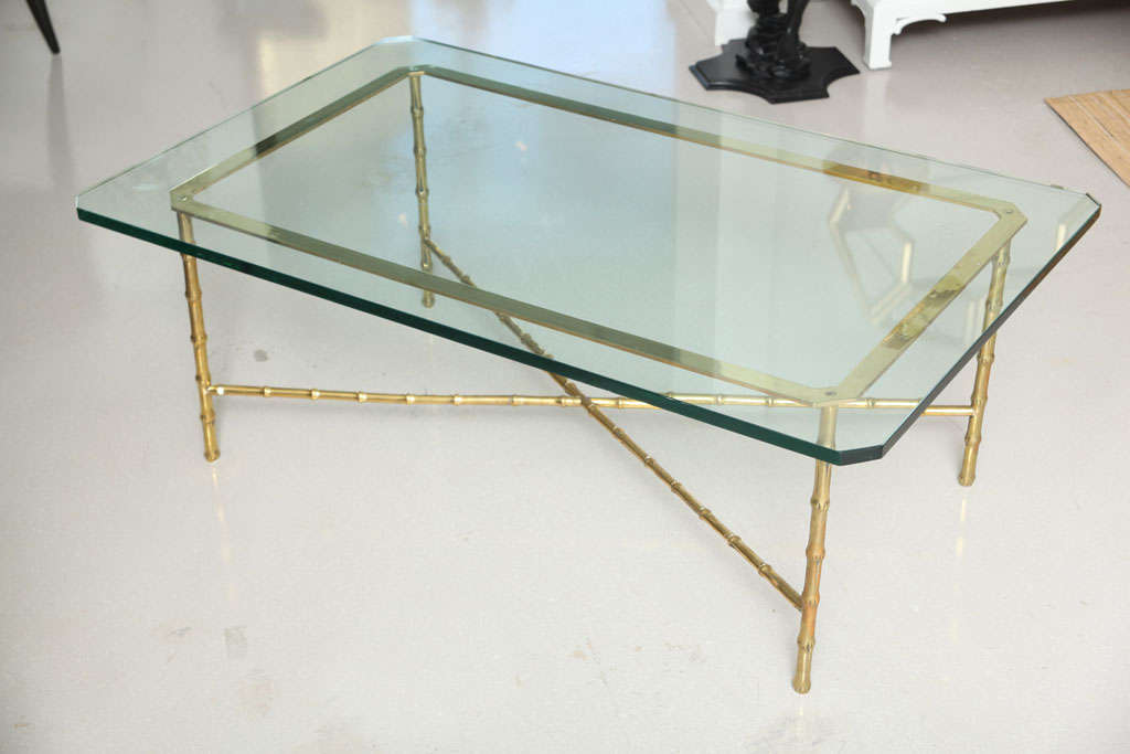 Classic Vintage Heavy Brass Coffee Table With Bamboo Motif And A Substantial Glass Top