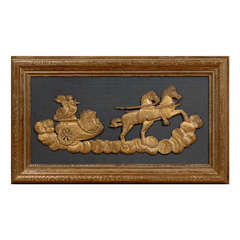 Framed 19th Century Gilt-Wood Fragment of Cherub & Chariot