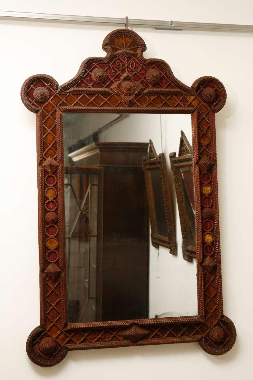 Tramp Art Mirror 1907 At 1stdibs
