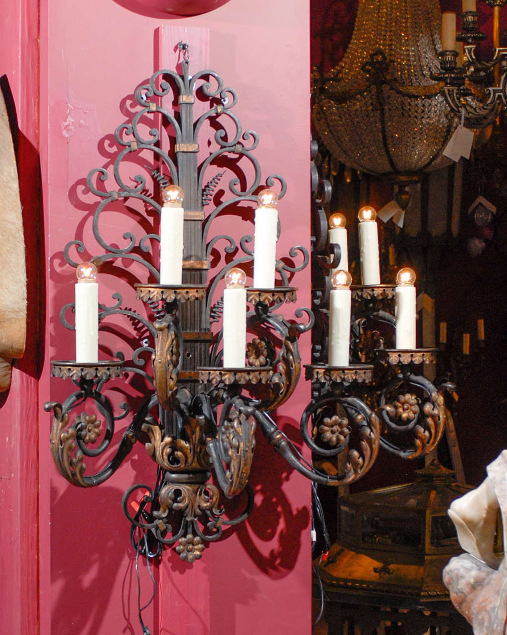 Magnificent French iron sconces, hand forged by fire, with gilt decoration