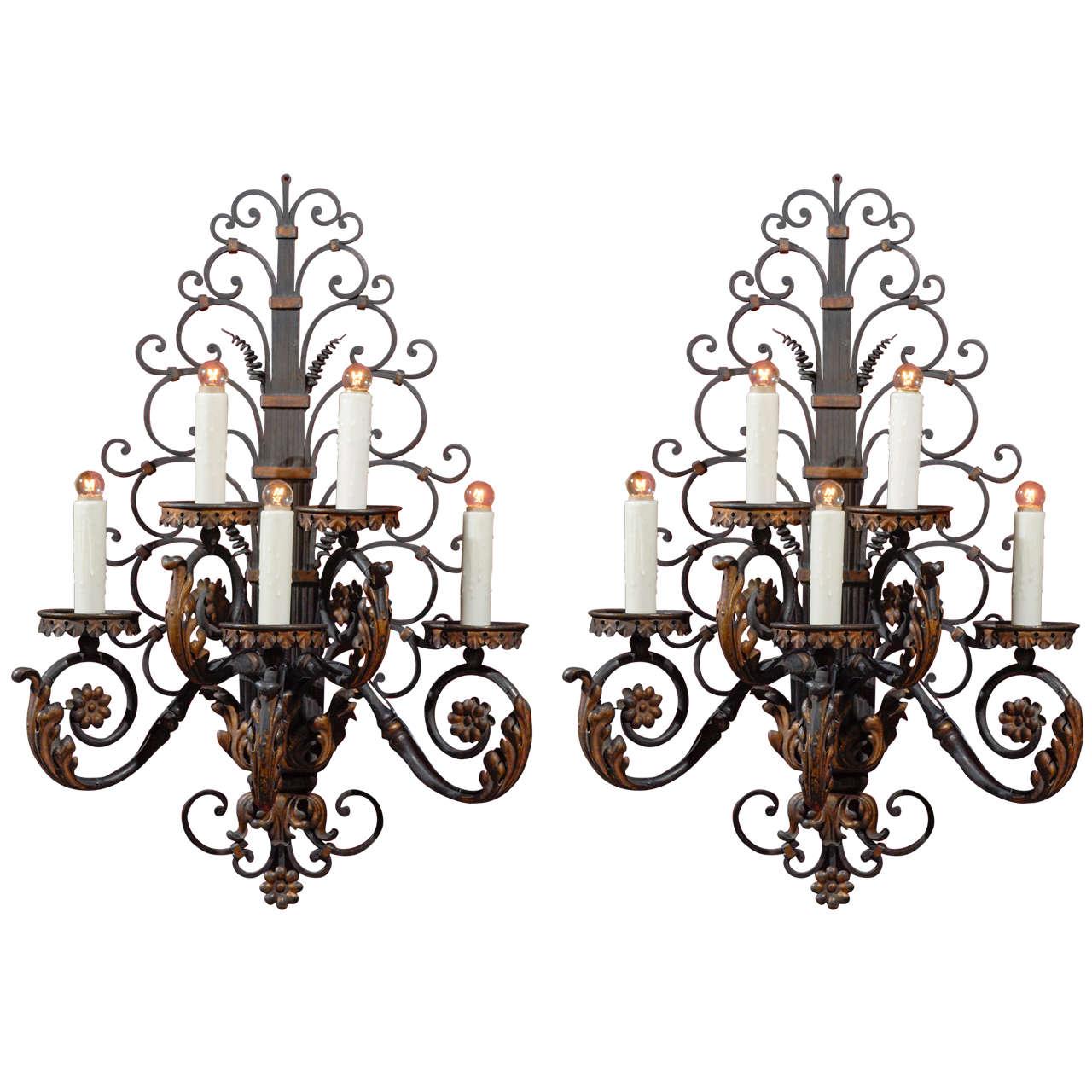 Pair of antique iron sconces For Sale
