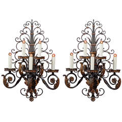 Pair of antique iron sconces