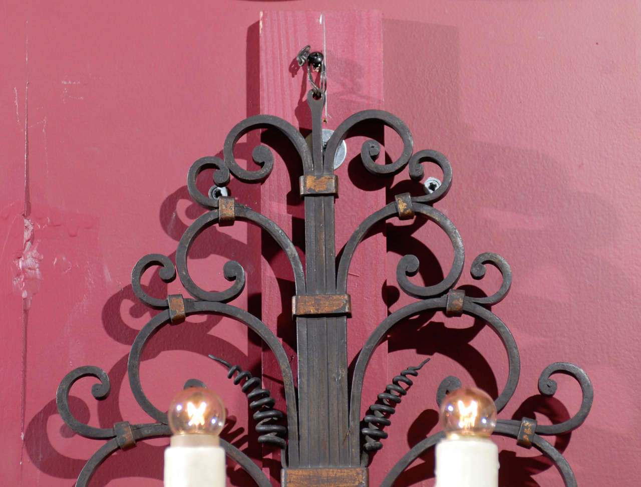 French Pair of antique iron sconces For Sale