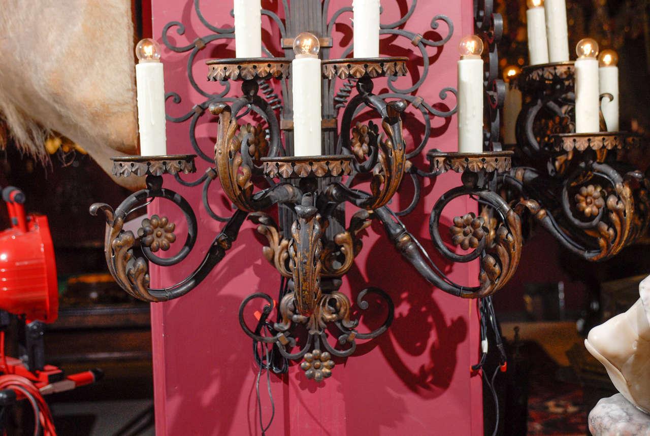 19th Century Pair of antique iron sconces For Sale