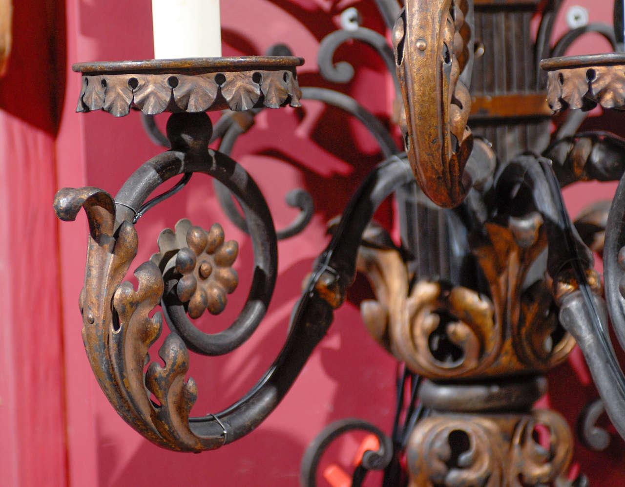 Pair of antique iron sconces For Sale 1
