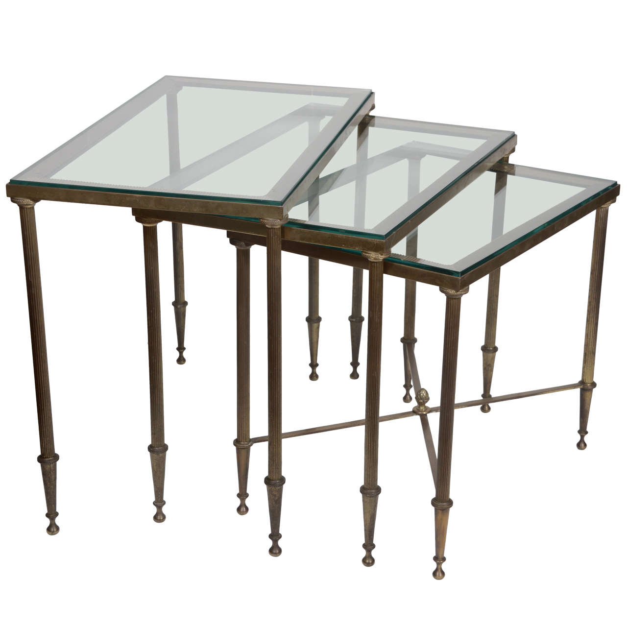 Set Of Brass Nesting Tables At 1stdibs