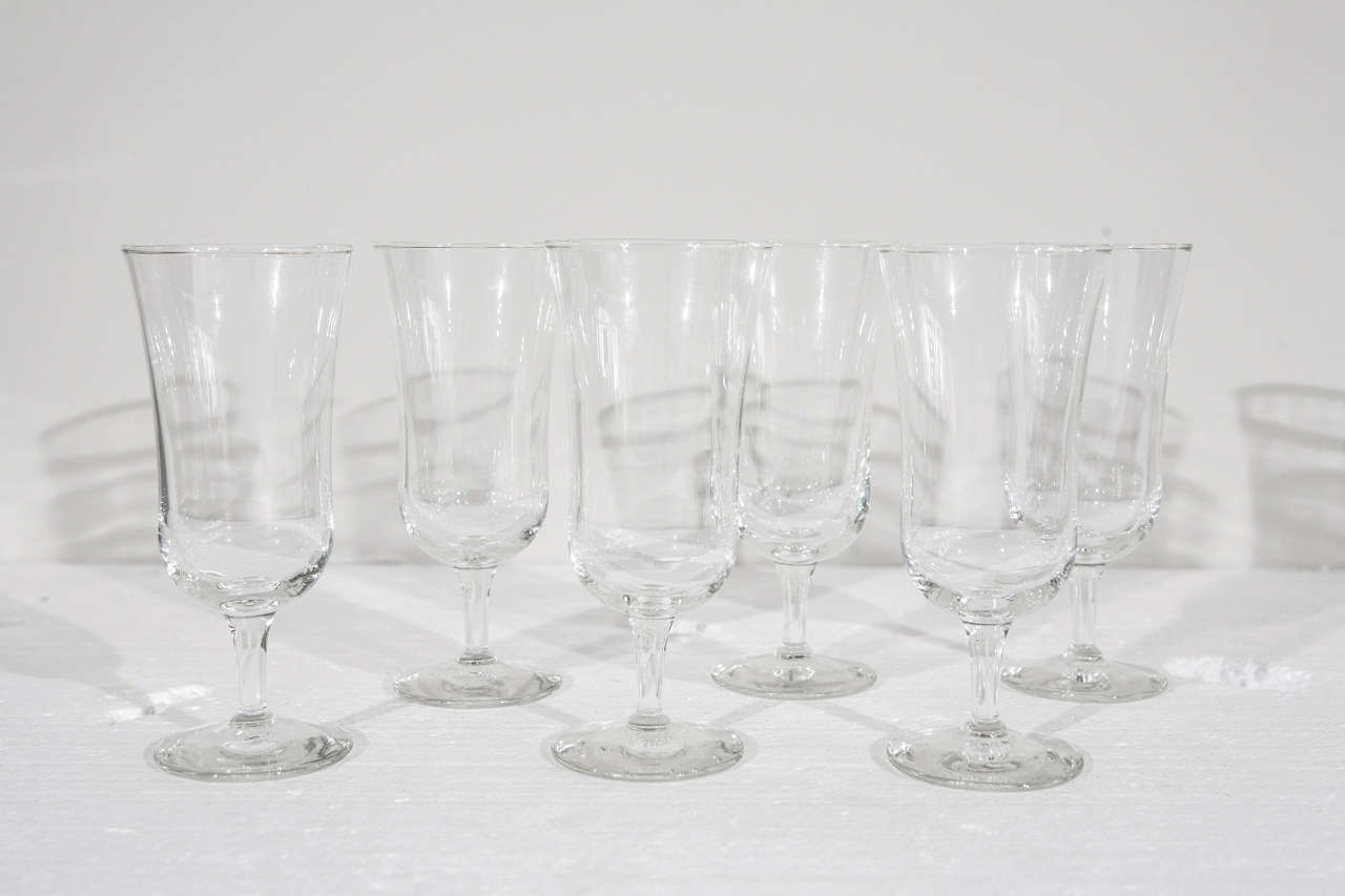 Set of six Holmegaard crystal stemmed cordial glasses.