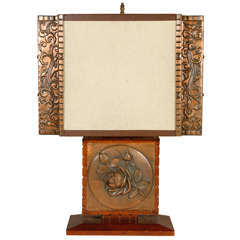Repousse Table Lamp and Shade (Rectangular Body)