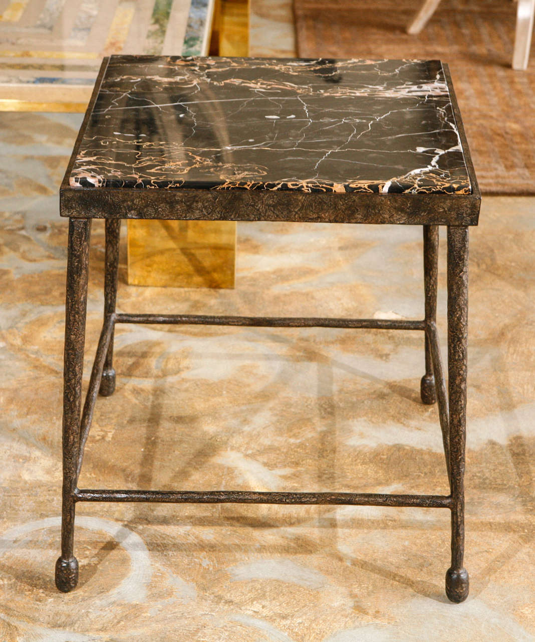 American Organic Modern Giacometti Style Iron and Stone Side Table For Sale