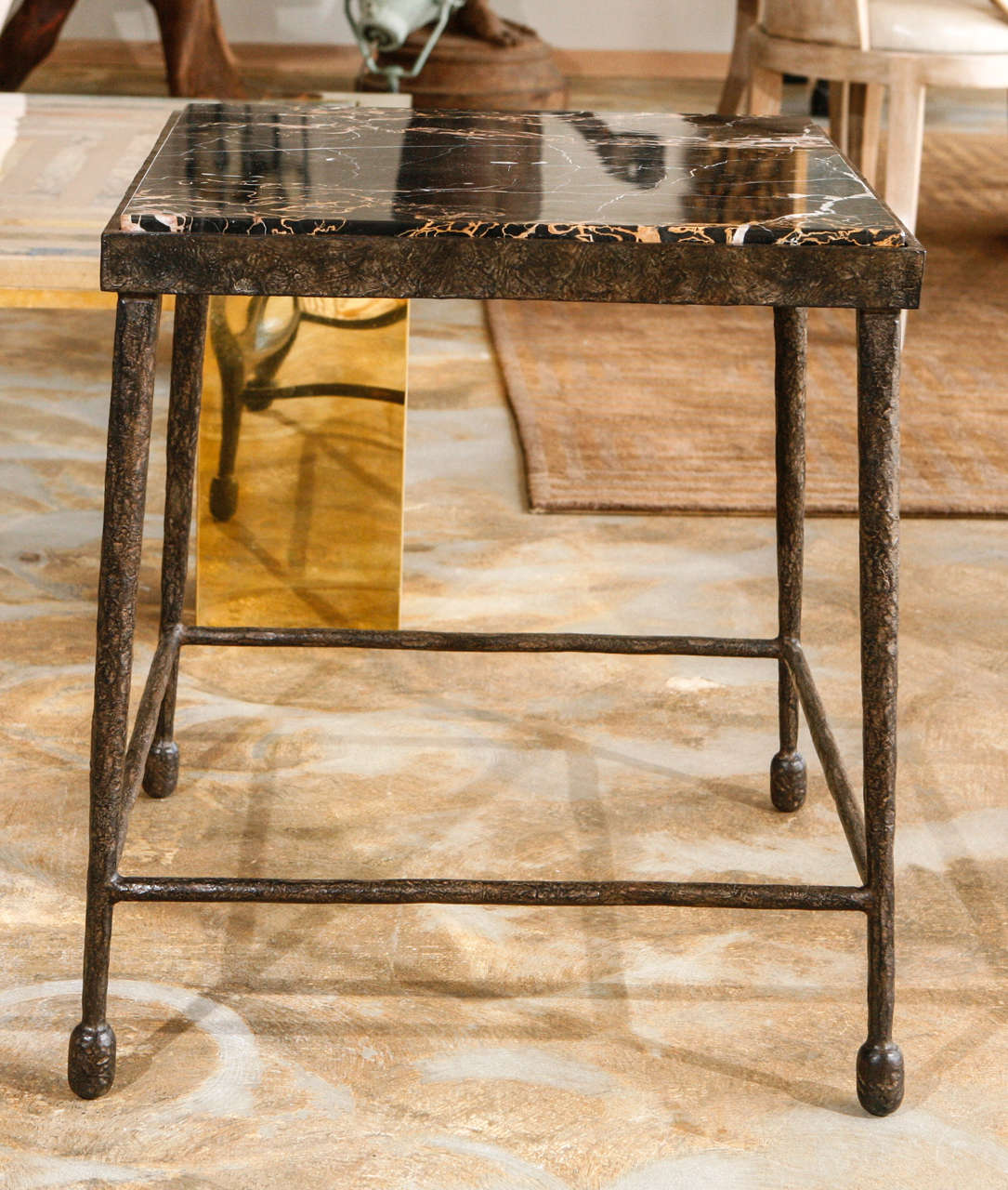 Organic Modern Giacometti Style Iron and Stone Side Table In Excellent Condition For Sale In Los Angeles, CA