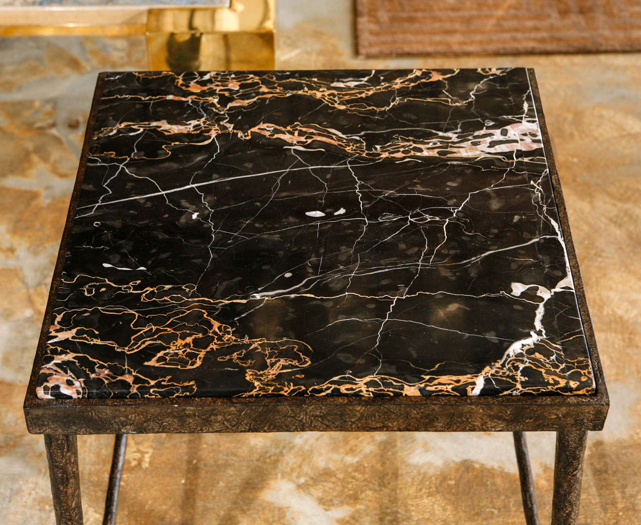 Contemporary Organic Modern Giacometti Style Iron and Stone Side Table For Sale