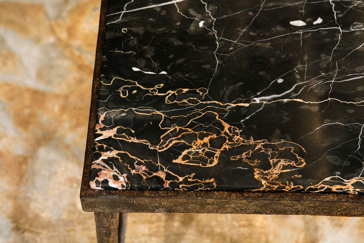 Organic Modern Giacometti Style Iron and Stone Side Table For Sale 1