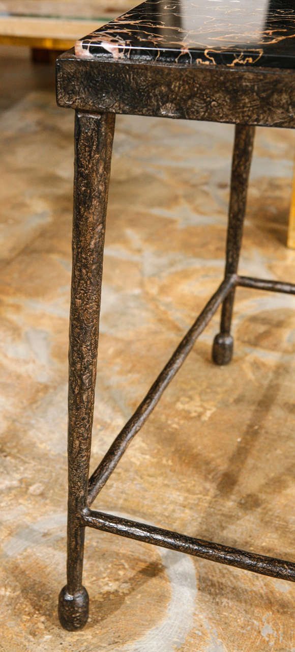 Organic Modern Giacometti Style Iron and Stone Side Table For Sale 2