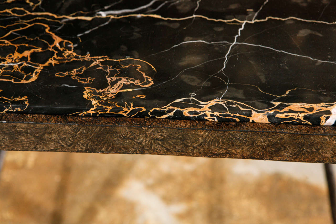 Organic Modern Giacometti Style Iron and Stone Side Table 9