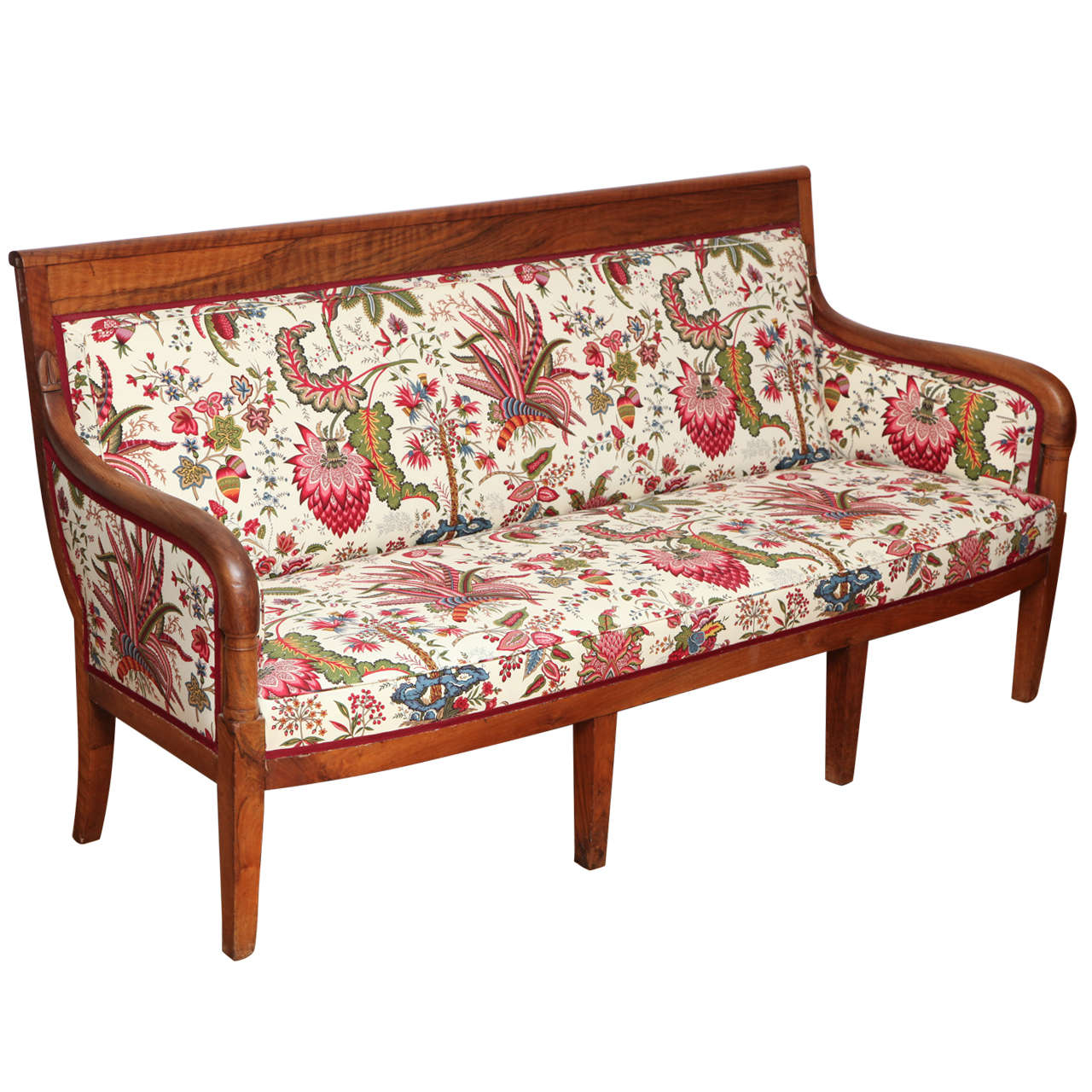 Louis philippe walnut canape with english floral fabric at for Canape in english