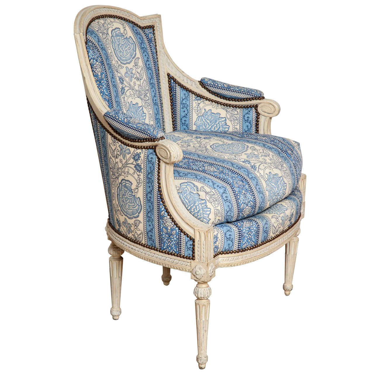 louis xvi grey painted bergere at 1stdibs. Black Bedroom Furniture Sets. Home Design Ideas
