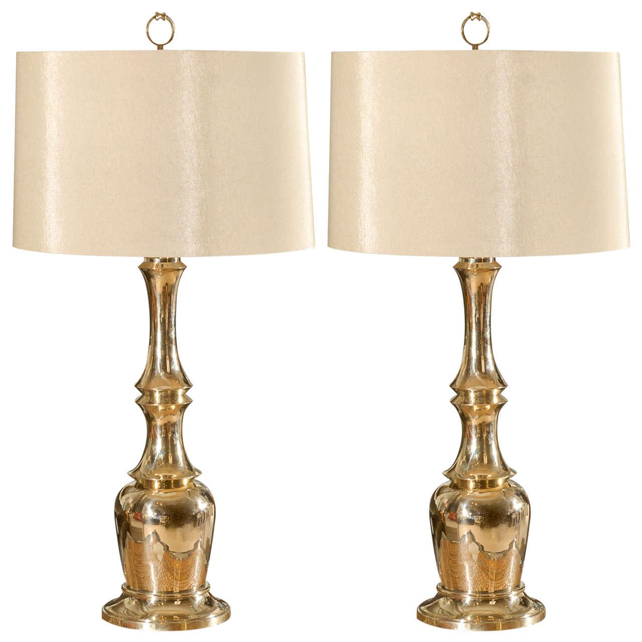 Great Pair of Brass Faux Bamboo Lamps by Warren Kessler