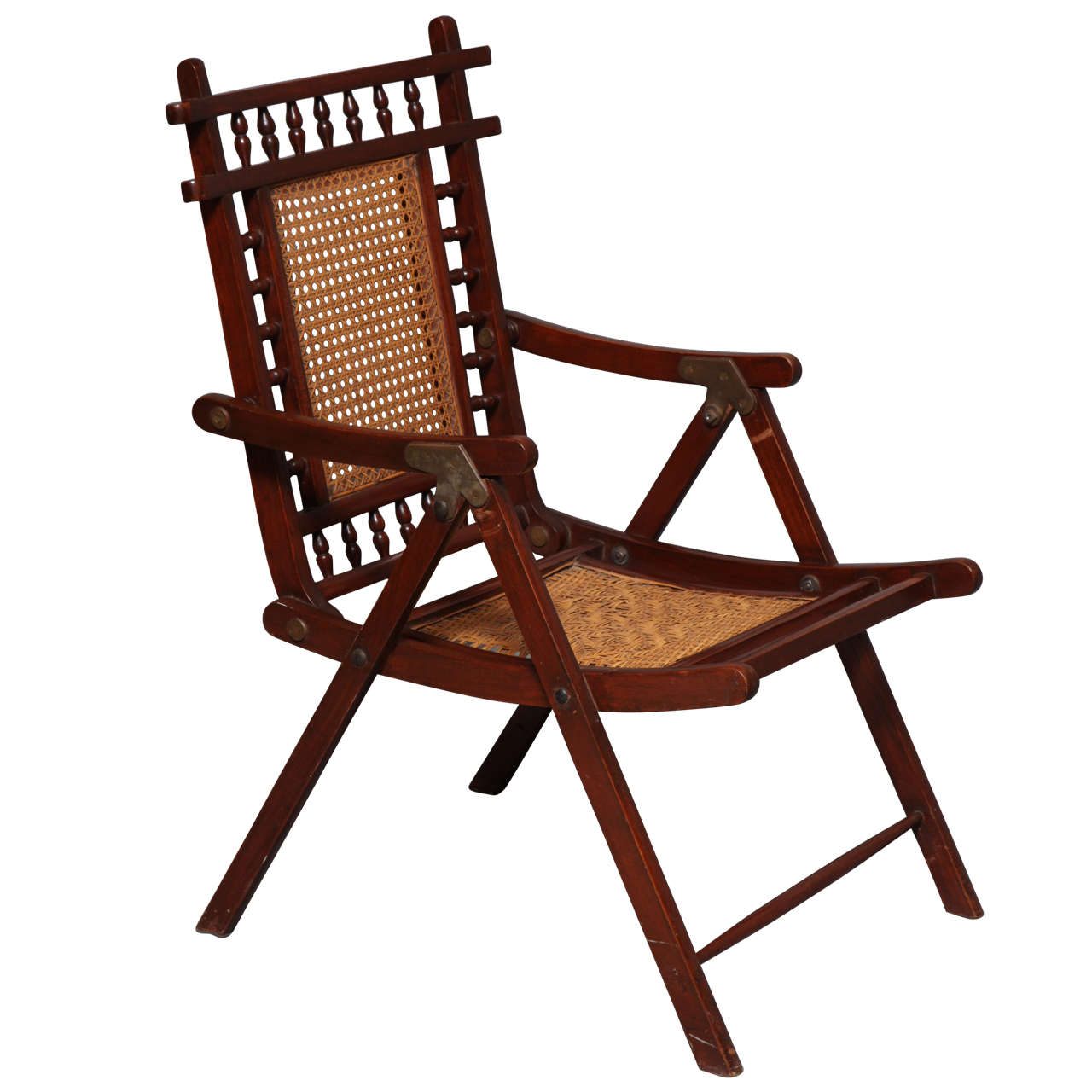 19th Century English Teak And Rattan Yacht Deck Chair At