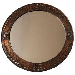 English Arts and Crafts Copper Mirror