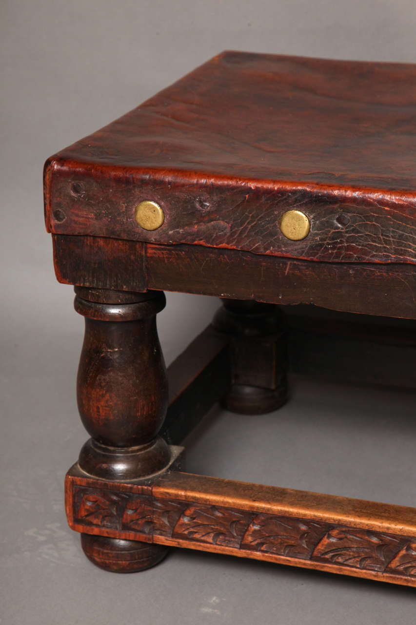 English arts and crafts studded leather coffee table at for Coffee table with studs