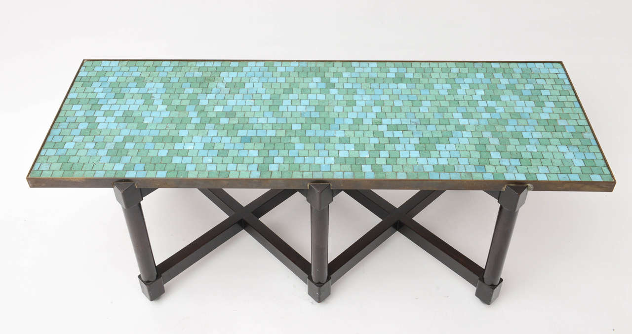 Ebonized Edward Wormley Tile Top Campaign Coffee Table For Sale