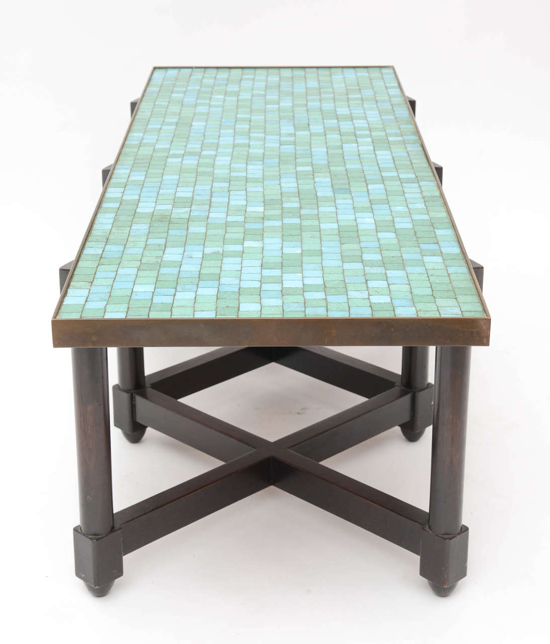 Edward Wormley Tile Top Campaign Coffee Table In Excellent Condition For Sale In West Palm Beach, FL