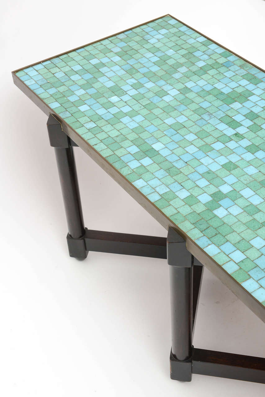 Mid-20th Century Edward Wormley Tile Top Campaign Coffee Table For Sale