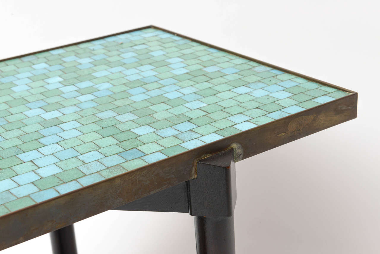 Brass Edward Wormley Tile Top Campaign Coffee Table For Sale