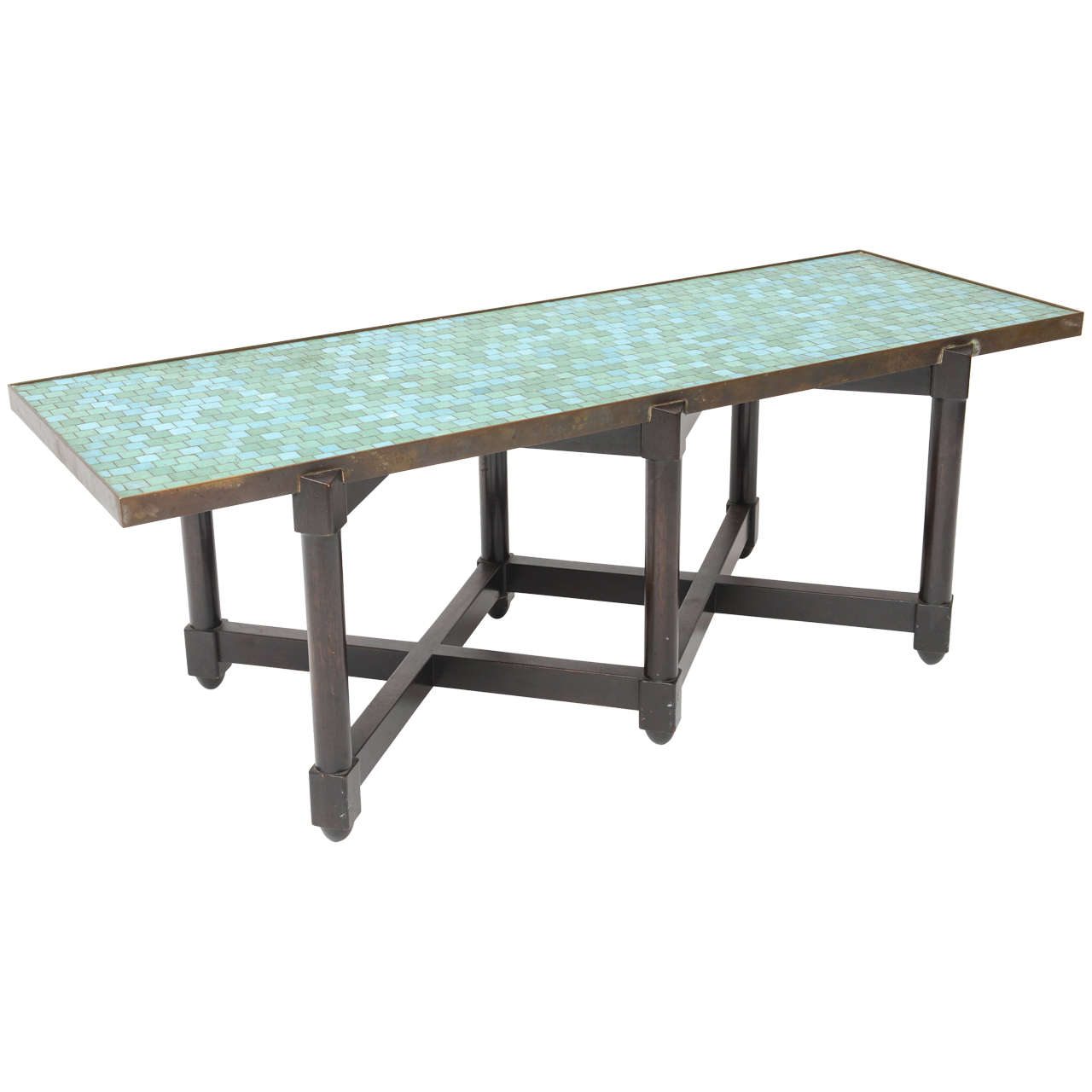 edward wormley tile top campaign coffee table for sale at. Black Bedroom Furniture Sets. Home Design Ideas
