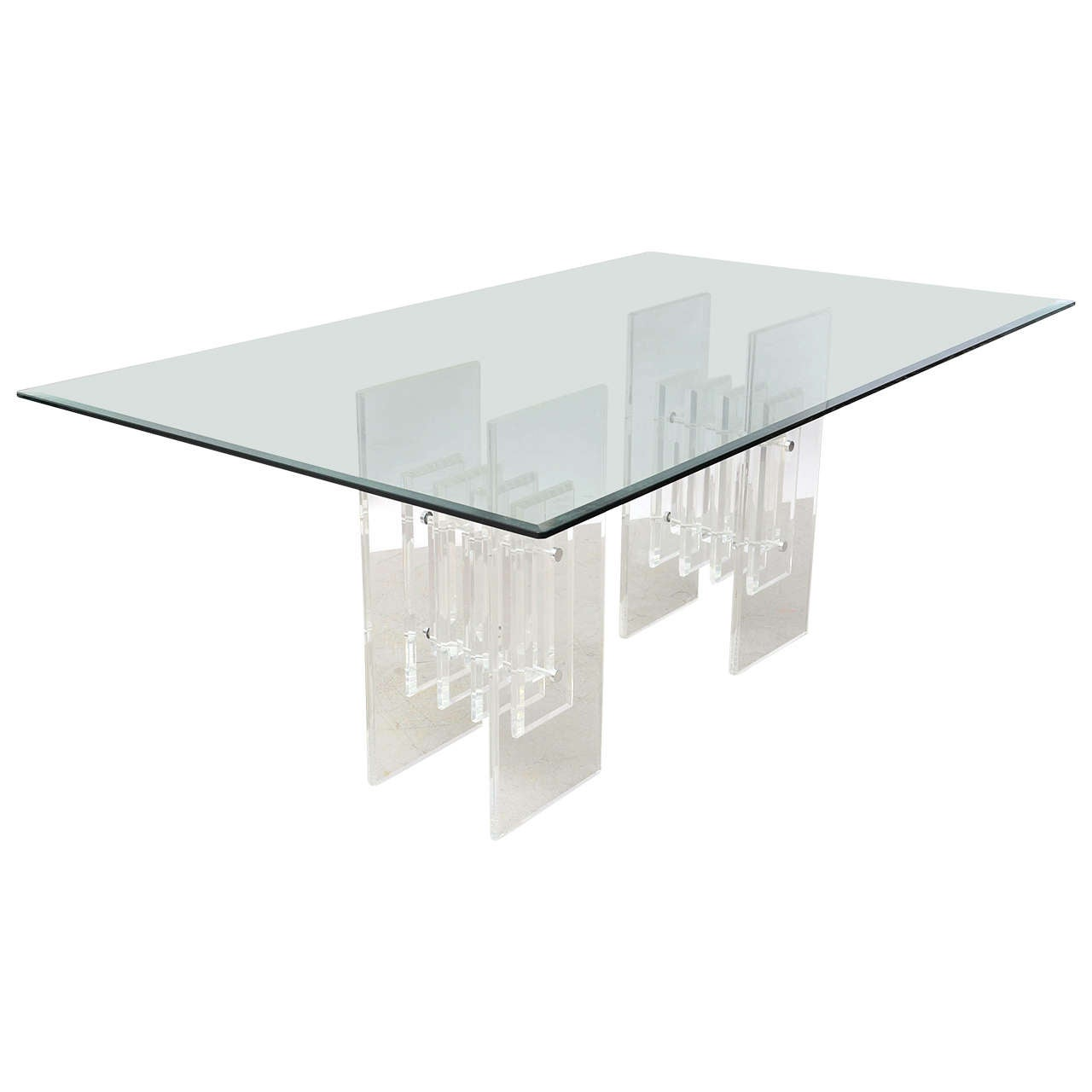 Signed Lucite Base Dining Table 1