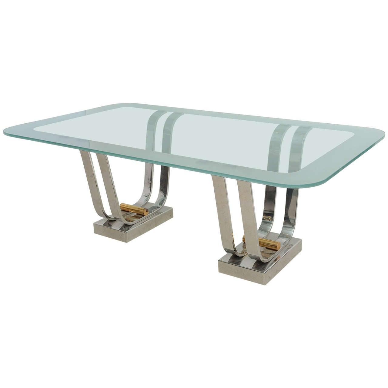 Karl springer brass and chrome glass topped dining table for Glass and chrome dining table