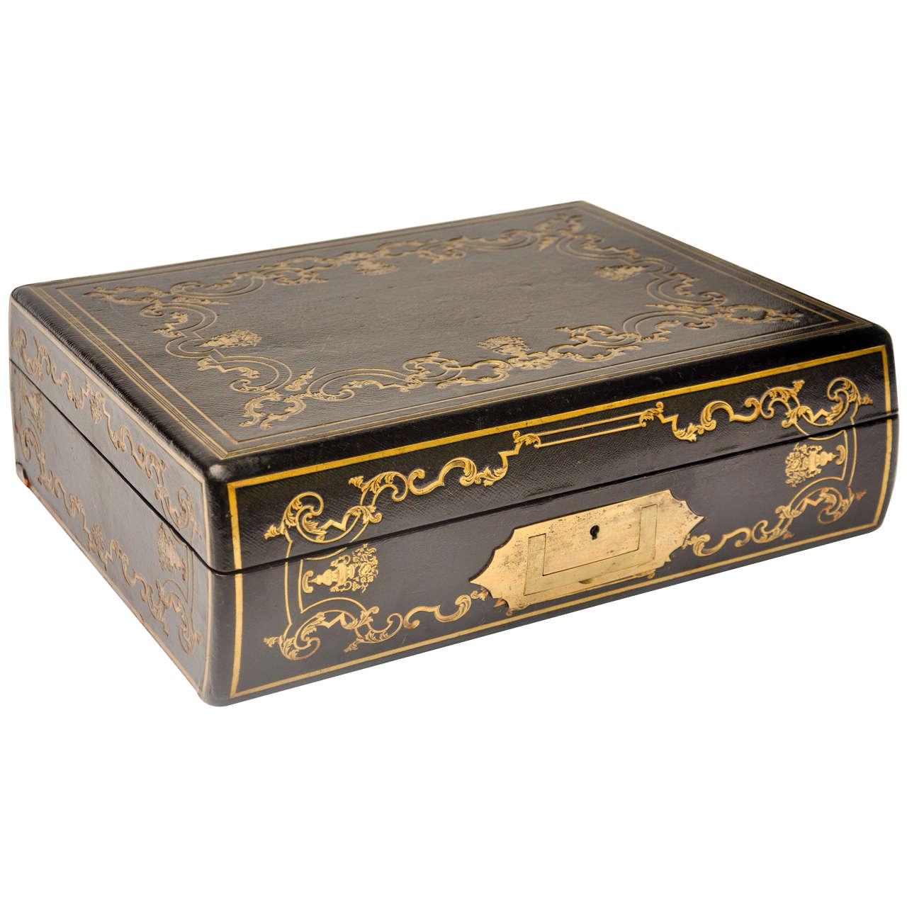 Needlepoint Navy English Mahogany Tooled Leather Writing Box At 1stdibs