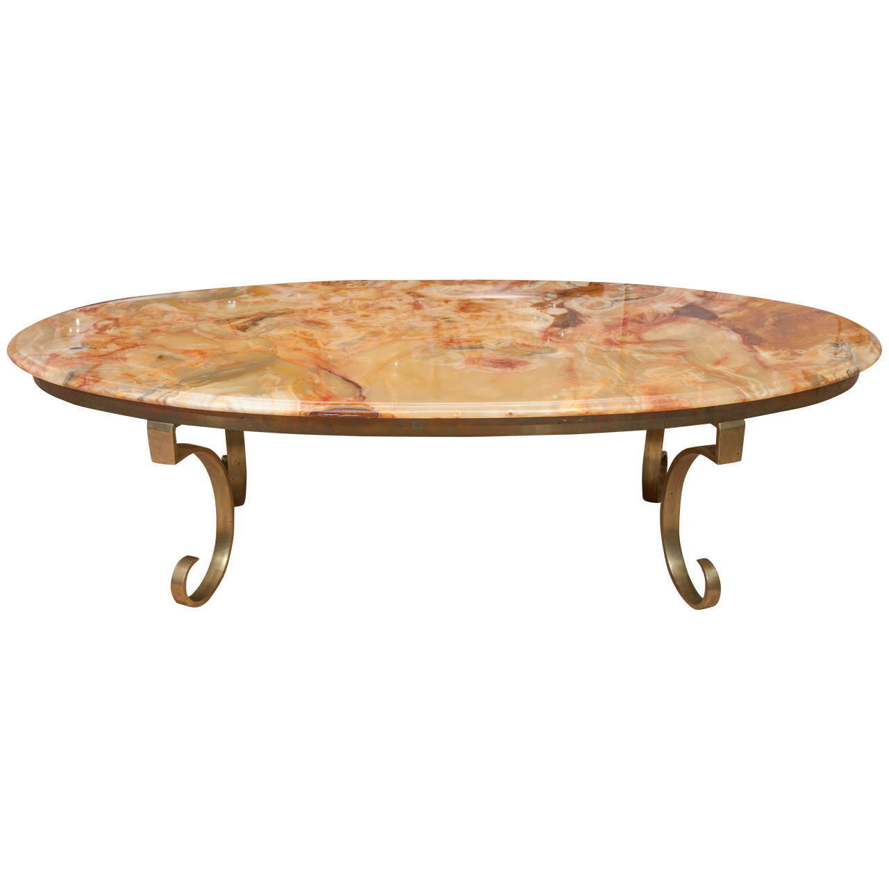 Muller Of Mexico Onyx And Brass Coffee Table At 1stdibs