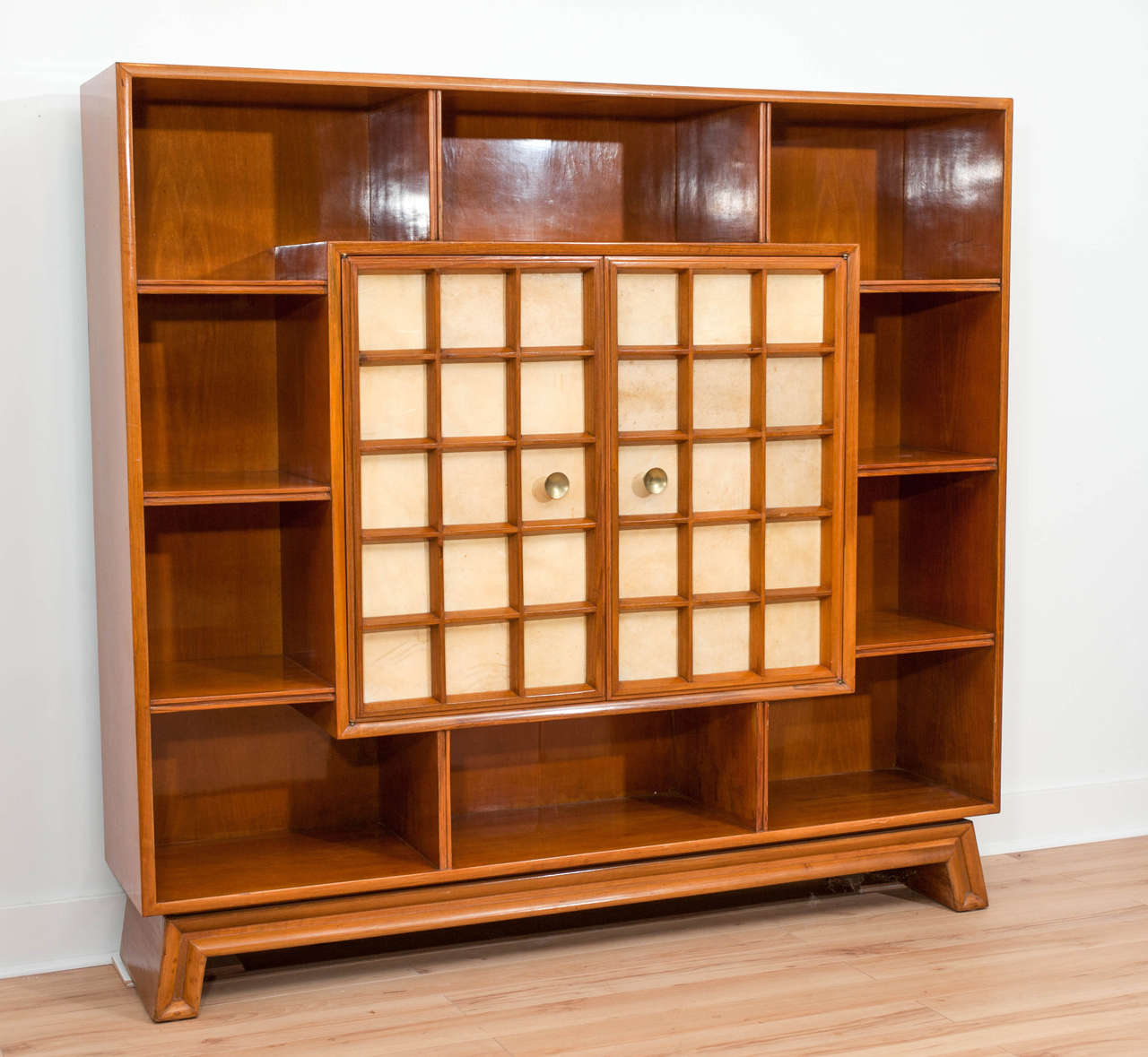 Wonderful image of Italian 1940's parchemin and walnut bookcase cabinet at 1stdibs with #AF510F color and 1280x1179 pixels