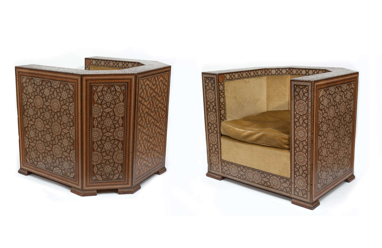 Pair Of Middle Eastern Art Deco Armchairs For Sale At 1stdibs
