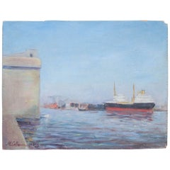 20th Century Painting of Port Nazairie by M. Colloivinic