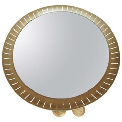Pair of 1950s Circular Oxidized Aluminum Mirrors by Stilnovo