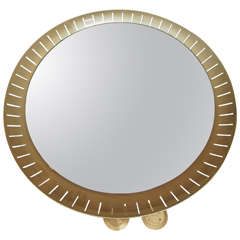 Pair of 1950s Circular Oxidized Aluminum Mirrors by Stilnovo