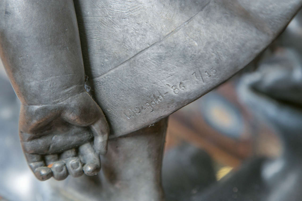 Bronze Sculpture, Baby Reflecting by Myra Weisgold In Good Condition For Sale In Stamford, CT