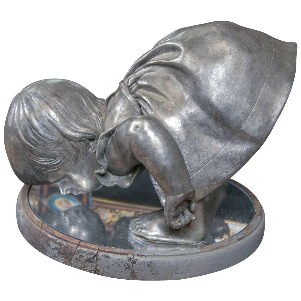 Bronze Sculpture, Baby Reflecting by Myra Weisgold