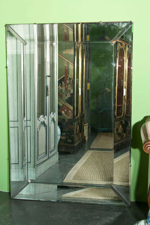 1940 S Beveled Edge Mirror With Chrome Trimmed Edges At