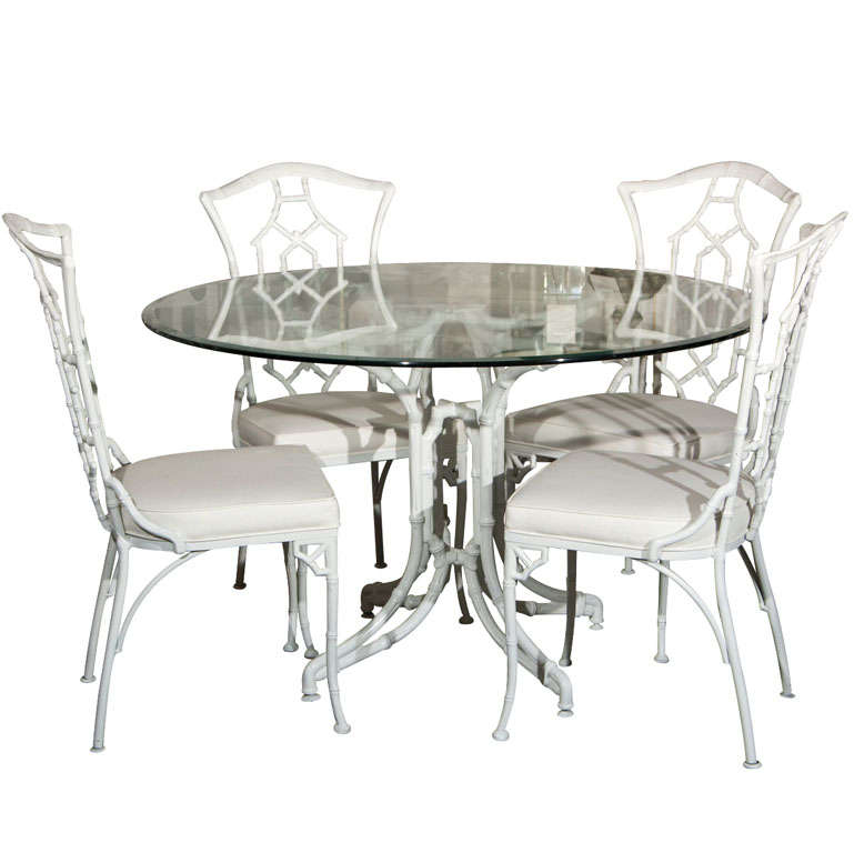 Dining Set Metal Faux Bamboo Chairs And Round Glass Table At 1stdibs