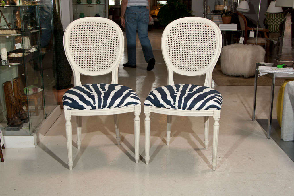 Offered here is a PAIR French Regency Style Chairs with new Travers fabric seats in dark navy blue