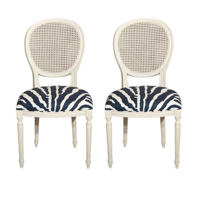 "PAIR French Regency Style Chairs ""Zebra"" For Sale"