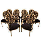 Set of 10 Regency Round Back Carved Cream Dining Chairs