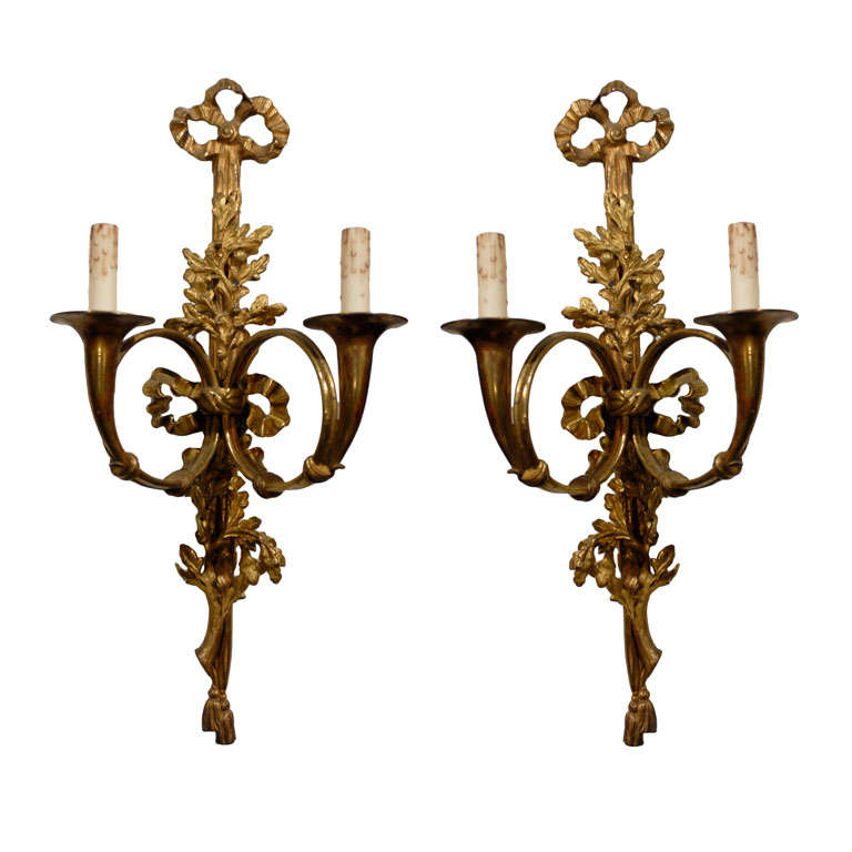 Pair of French Louis XVI Style Bronze Two-Light Sconces with Hunting Horns