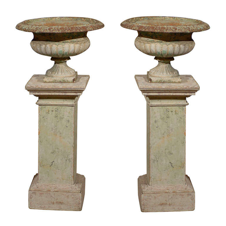 Pair of Square Painted Wood Columns and 19th Century Jardiniers