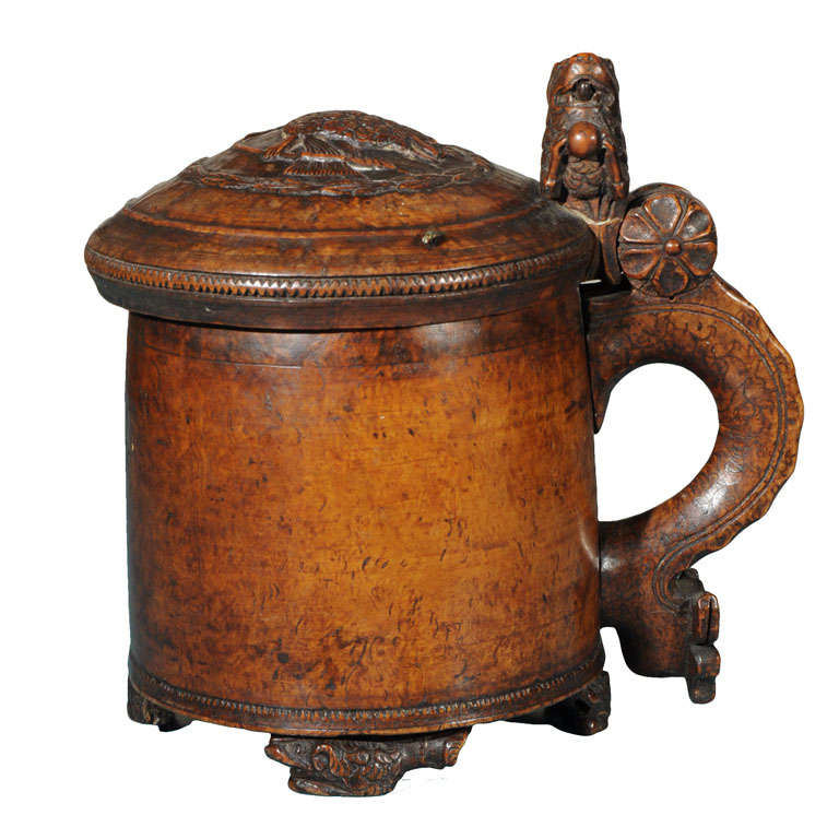 Norwegian wooden tankard with lid at stdibs