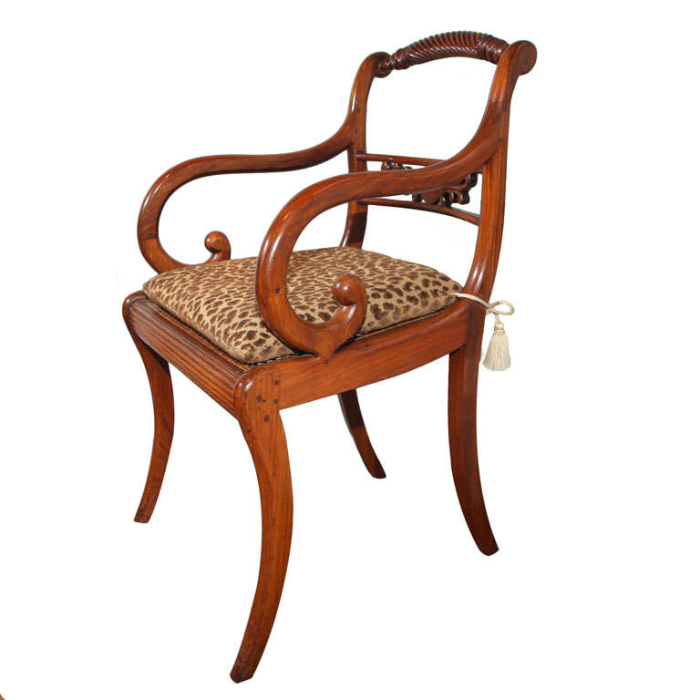 Chinese Export Hardwood Open Armchair, Circa 1815